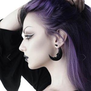 NWT! Killstar - Crescent Moon Earrings Black